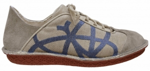Po-Zu 'Brisk' Leather Sneaker (Mens - Natural/Blue)