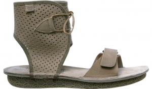 Po-Zu 'Zoe' Perforated Leather Cuff Sandal (Mocha)